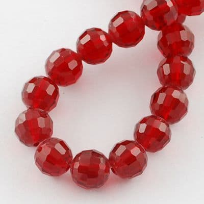 Red Faceted 10mm Round Glass Beads (20)